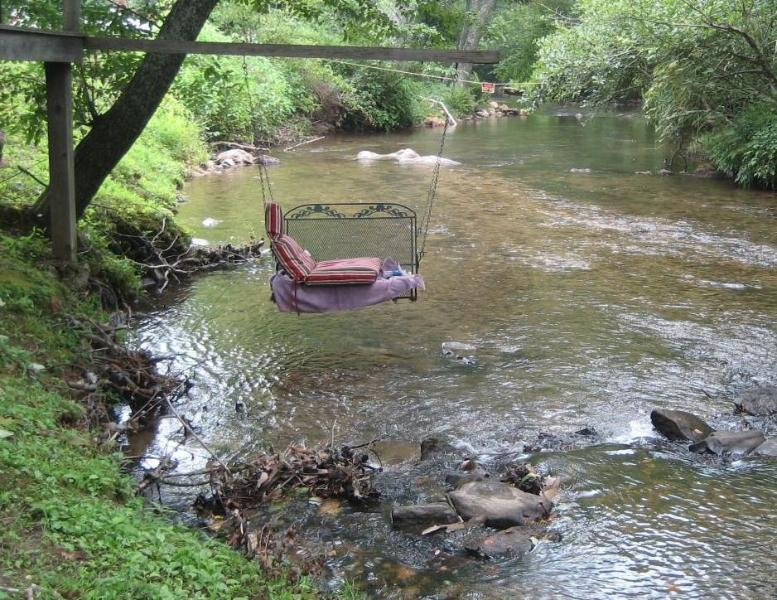 Creek Swing is easily accessed by simply walking out the back yard for about 50'!