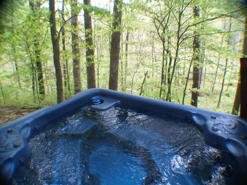 Hot Tub sits on the ravine with beautiful views!