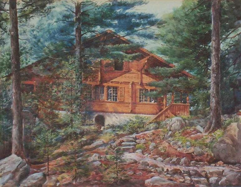 Watercolor of the Nine-Bedroom Chalet of the Bears, Brought from Switzerland in 1929.