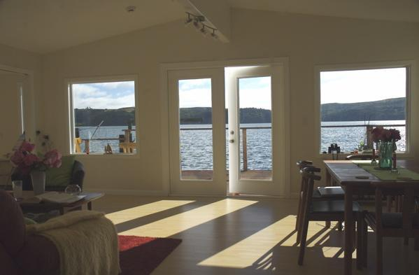 Water view from dining-living area