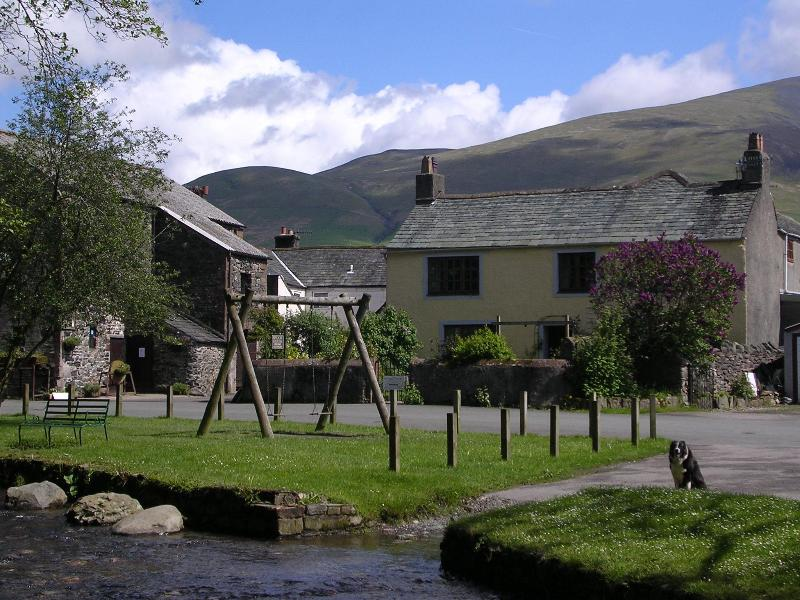 View of cottage from across the stream