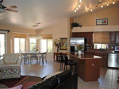 spacious open family room, nook and kitchen