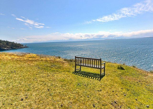 Whale Watch Point is perched high on a bluff looking out to the ocean on the coveted West side of San Juan Island.