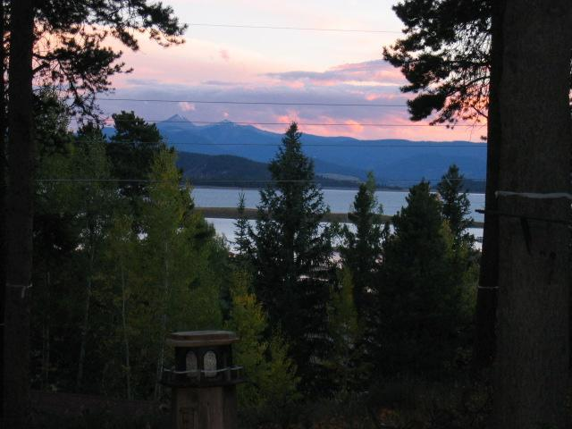Sunset Looking from the Great Room onto Lake Granby, Byer's Peak & the Continental Divide