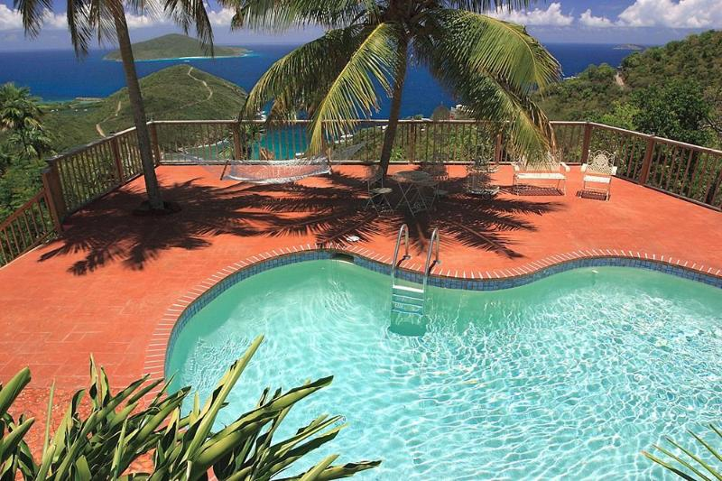 Pool & deck has an incredible view! Hammock is between the two palm trees. - HarmonySuite - Luxury Honeymoon/Vacation Suite - East End - rentals