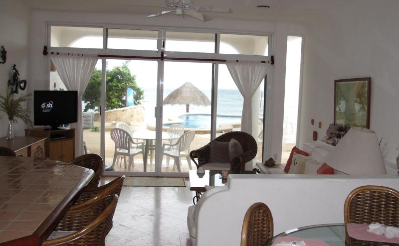 View of pool/ocean from Unit #3 - Ocean/Pool Level, Family Friendly Playa Caribe #3 - Akumal - rentals