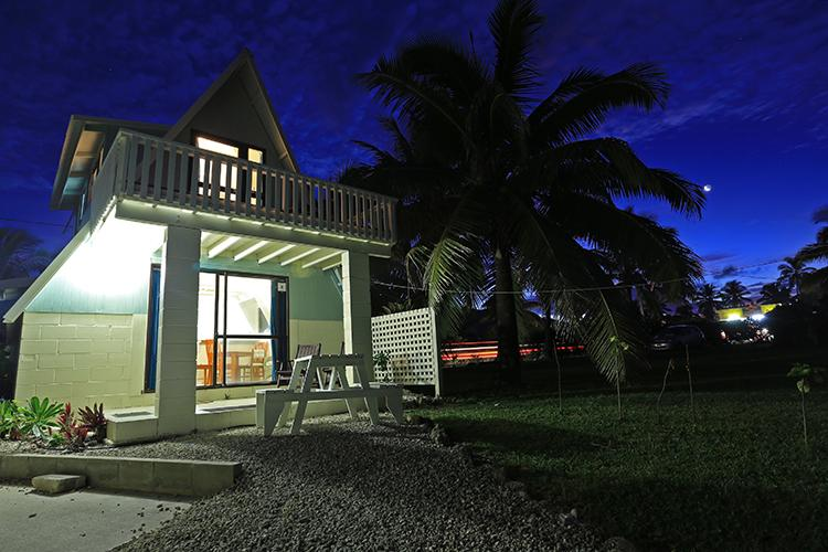 Cottage by night - AVARO COTTAGE 25 steps to beach & shared pool - Rarotonga - rentals