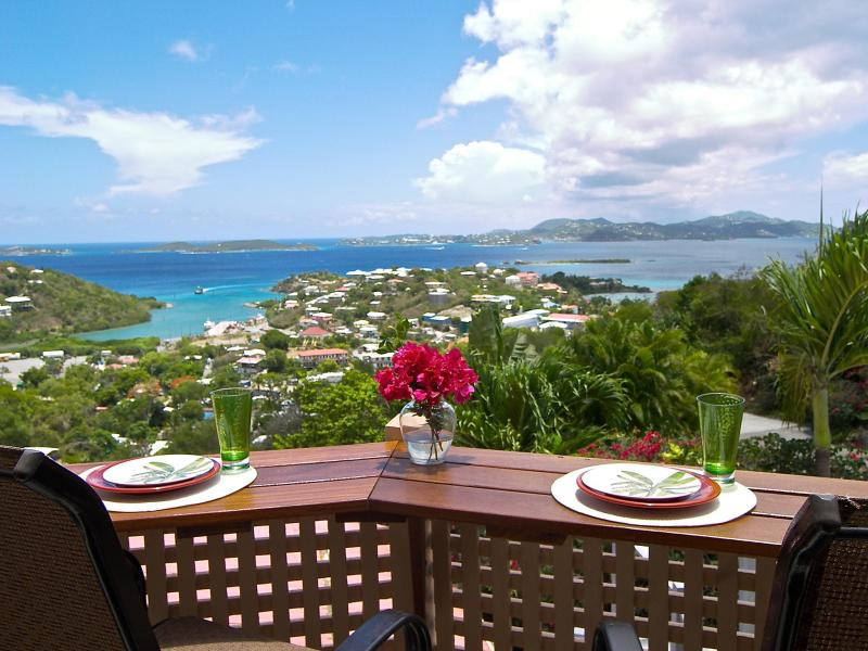 Enjoy panoramic Virgin Island views from Bliss's private terrace with deck bar - 2BR/1BA  near town/NP beaches, sea views, a/c - Cruz Bay - rentals