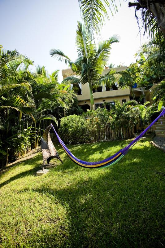 Fenced in Yard with Hammock