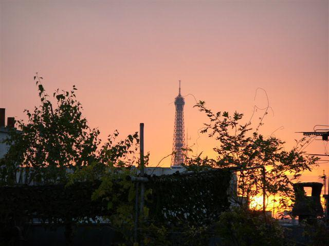 Eiffel Tower in the distance. View from Bedroom and bathroom