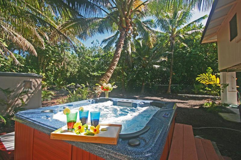 Relax in the private, secluded Jacuzzi