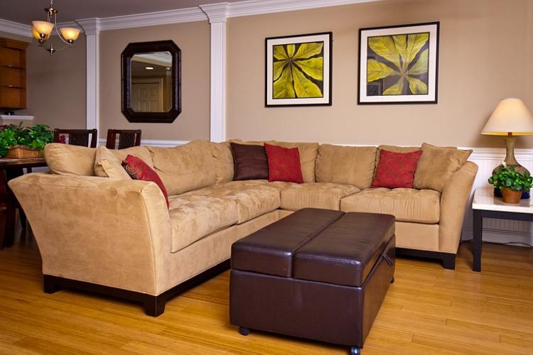 spacious living room with sectional sofa