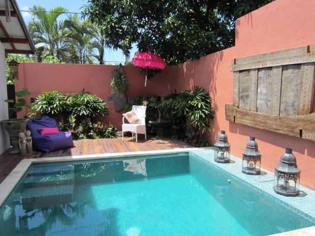 private  secure sunny  pool area