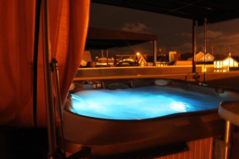Night View of Hot Tub on Deck - Luxurious Beach House! Close to Everything! - Newport Beach - rentals