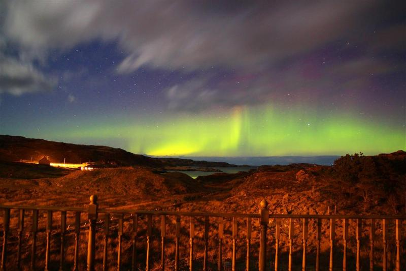 Northern lights as seen from the decking of The Ard - Ard Holiday Cottage, Bernera, Lewis, Hebrides - Isle of Lewis - rentals