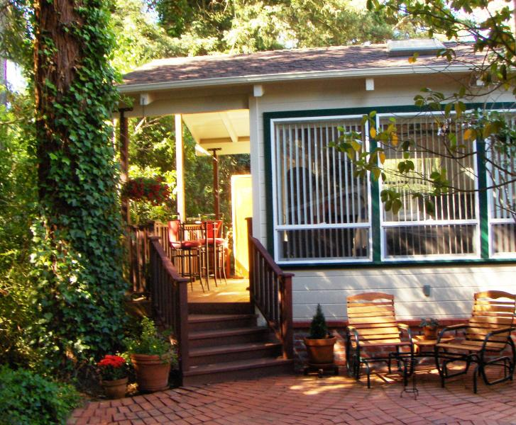 Morning Sun Shines Through the Redwoods on the Private Deck & Entrance to Scott's Guest House