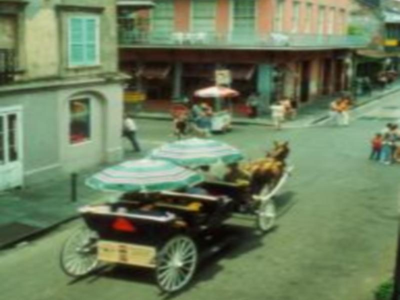 View from balcony in the center of the French Quarter, Mule drawn buggies abound
