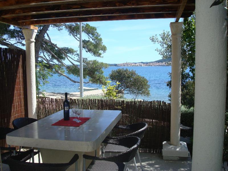 Outside dining with view of medieval town of Korcula