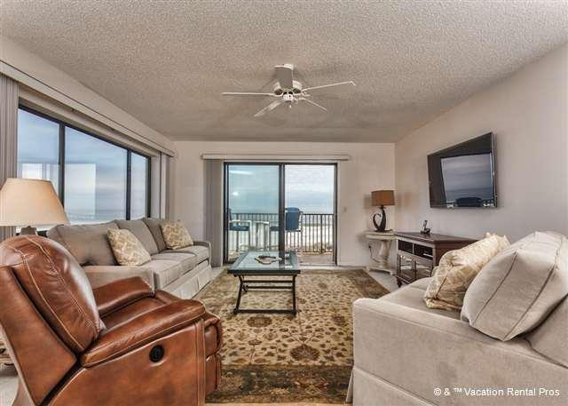 The sparkling sea lies just beyond the living room! - Summerhouse 102 - Luxury, Ocean Front, Corner Unit, HDTV, New - Saint Augustine - rentals