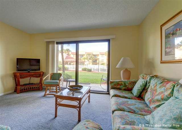 Spacious and light, the living room is a delight!