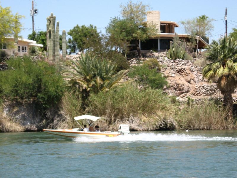 Looking at the house from the Colorado River