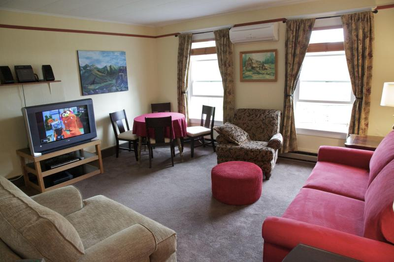 The living room has wide screen tv, dvd with docking station, wireless internet.
