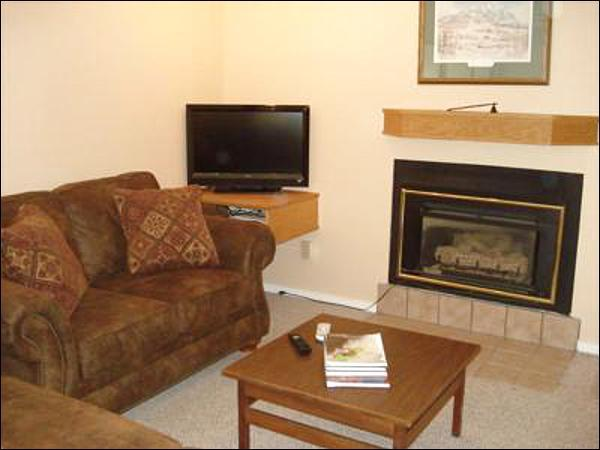 Flat-Screen TV and Gas Fireplace in the Living Room
