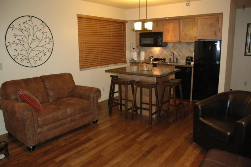 Living/Kitchen Area with Beautiful Hickory Floor