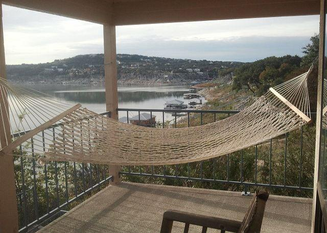 Extra large private patio with hammock over looking Lake Travis