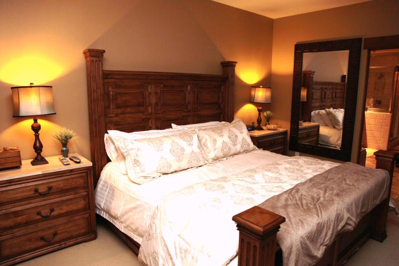 Comfy new King size bed in Master Bedroom with all the comforts of home.