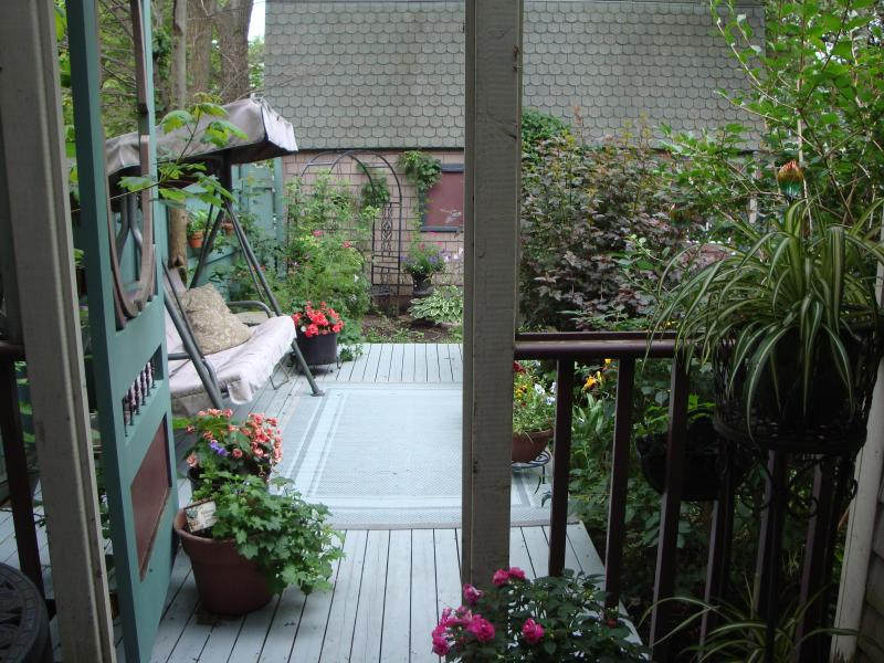 Deck overlooking the garden