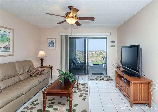 Enjoy our ground floor ocean front living room with HDTV