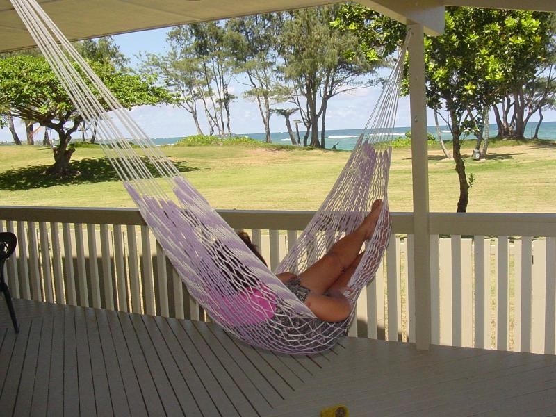 Enjoy great ocean and park views from the deck (hammock not provided)