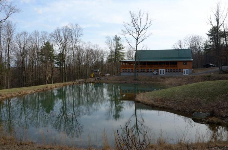 View of pond and lodge - 10 bedroom lodge in the mountains of Huntingdon PA - Huntingdon - rentals