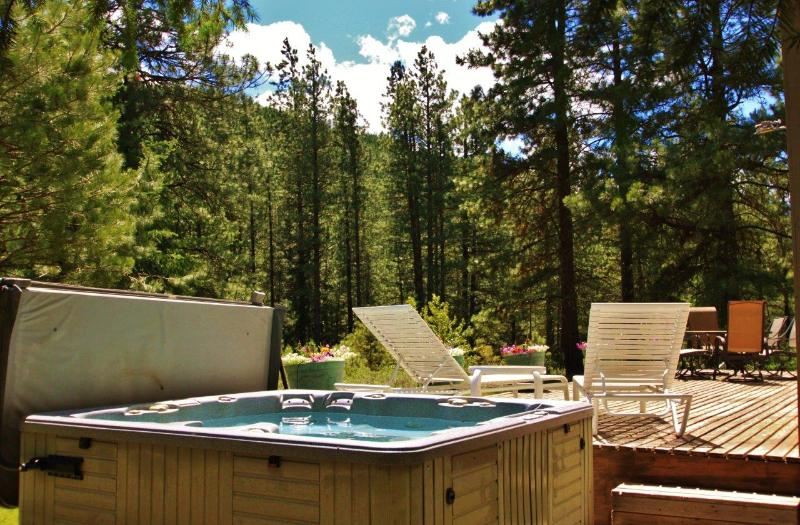 Private hot tub under the night sky for a relaxing evening - Pine Tree Cottage, Sleeps 6, Wi-Fi, Hot Tub - Leavenworth - rentals
