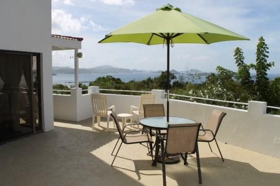 Private courtyard offers ocean views, BBQ grill, and seating/lounging areas