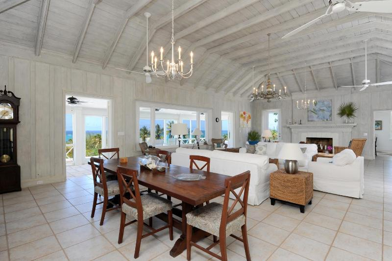 Stunning great room with high ceilings and ocean views