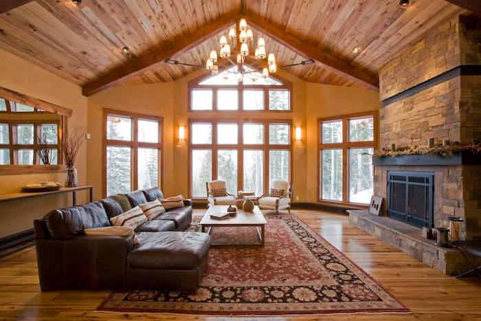 Vaulted ceilings and big windows in the Great Room at Alpenglow in Telluride Mountain Village