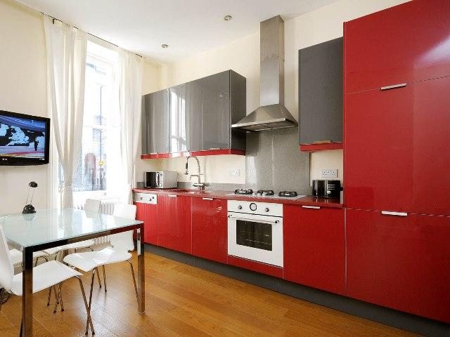 KITCHEN - fully equipped, modern design, red
