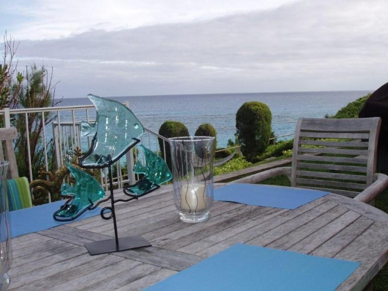 Patio dining overlooking South Shore and Marley