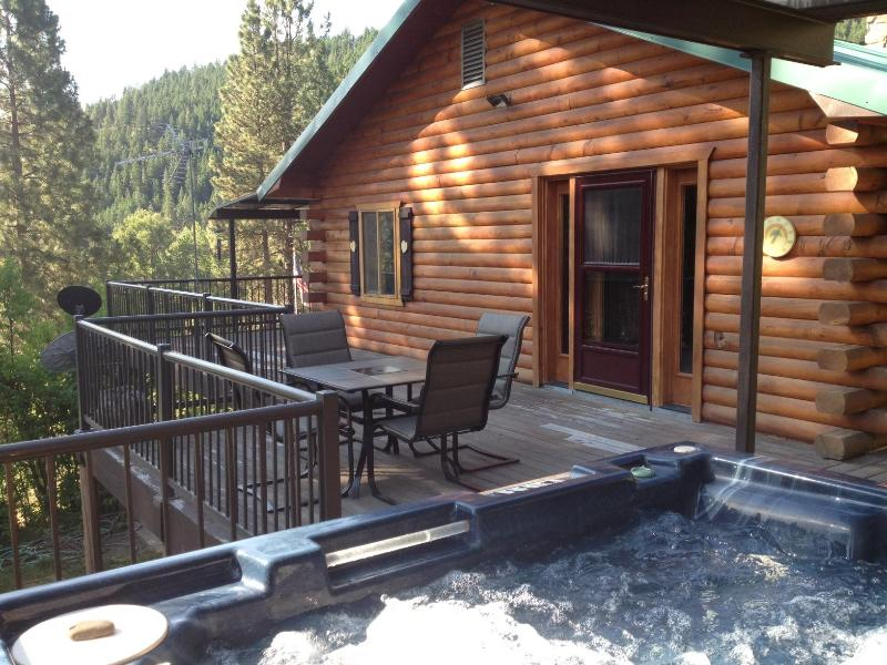 View of the lodge from the hot tub