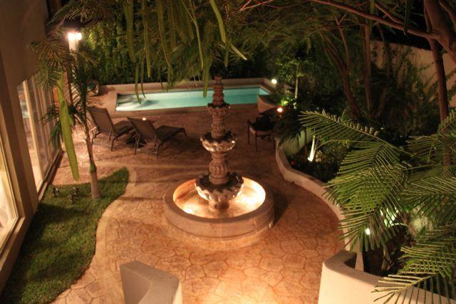 The lovely mexican fountain in the beautiful garden of Casa Esquina