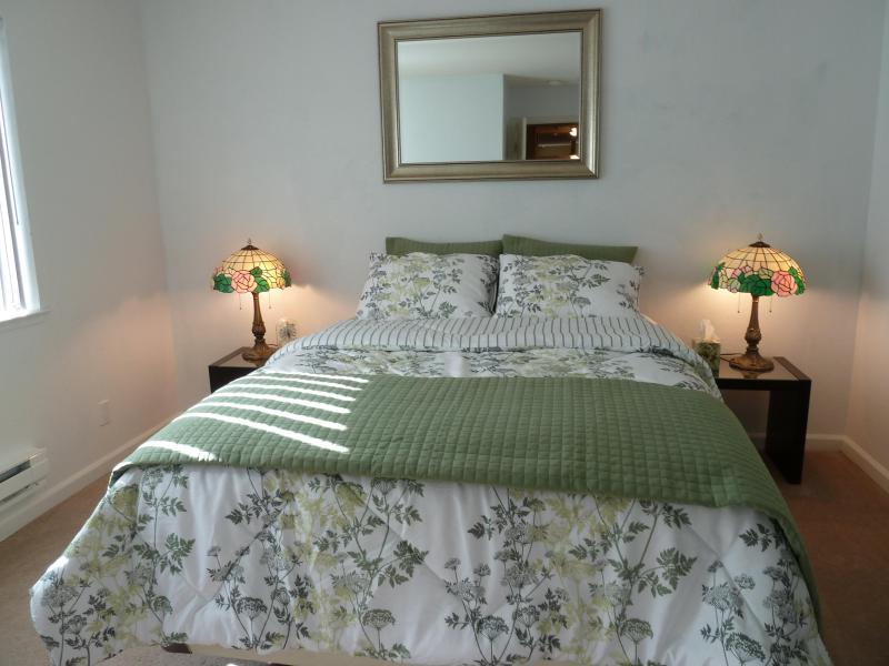 View of Master bedroom with plush Seally mattress and new soft linens