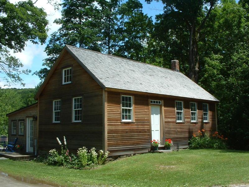 Front view of the 18th century schoolhouse