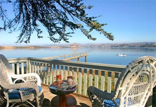 200 degree water view from the deck featuring most of the '9 Sisters' & the bay