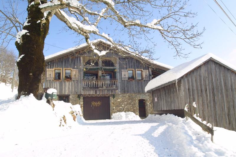 The chalet is in the converted barn, with a west-facing balcony