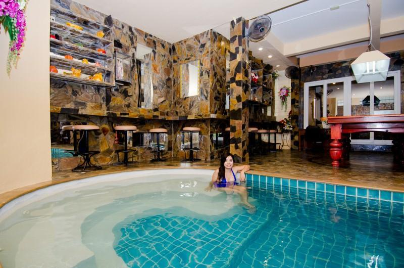 indoor pool and play room