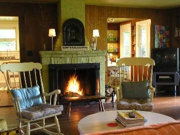 Get cozy by the fire. Firewood on premises