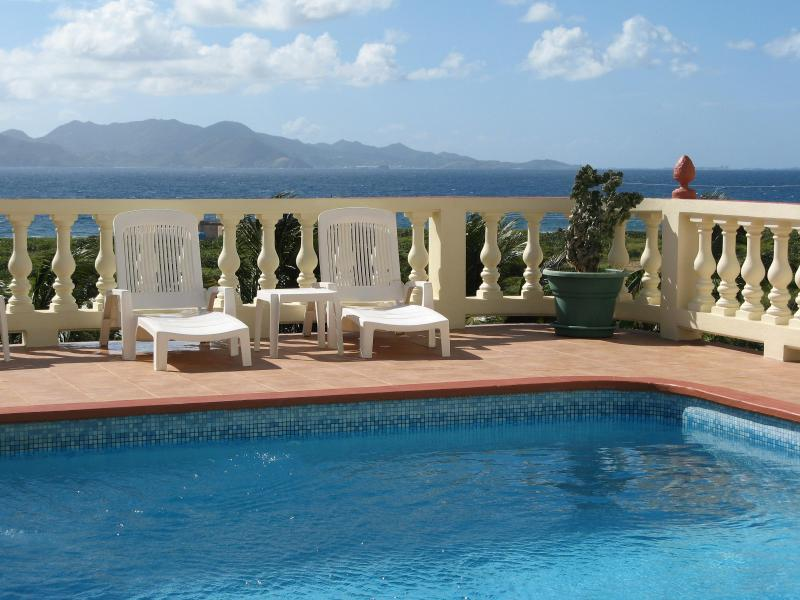 Pool with St. Martin in background - Ocean Terrace Luxury 2BR Condos, Spectacular Views - Anguilla - rentals