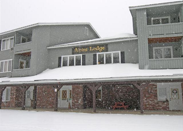 Outside the front of Alpine Lodge